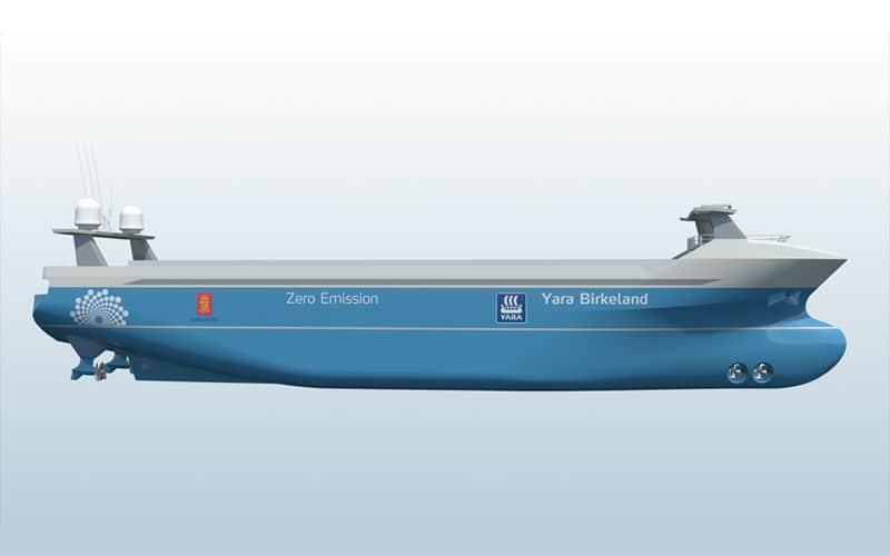 YARA Birkeland - verdens første autonome containerskib - foto: Kongsberg - teknologikritik.dk